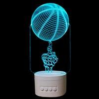 Fingertip Basketball 3D Night Light Bluetooth Speaker Music LED Table Lamp 5 Color Change USB Baby Sleeping Light Indoor Light