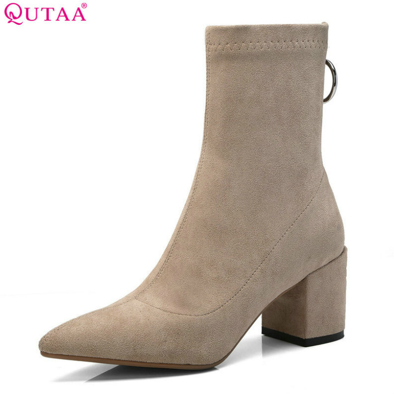 QUTAA 2019 Elegant Women Mid Calf Boots Fashion Pointed Toe Cow Suede Zipper Winter Shoes Women Motorcycle Boots Size 34-39 qutaa national style winter women shoes genuine leather flat heel mid calf boot zipper women motorcycle snow boots size 34 40