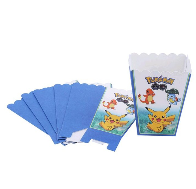 6pcs/lots Pokemon Pikachu Cartoon Prints Popcorn Cup Box Happy Birthday Party Candy Box For Kids Favor Gift Supplies