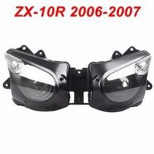 For 06-07 Kawasaki Ninja ZX10R ZX 10R Motorcycle Front Headlight Head Light Lamp Headlamp CLEAR 2006 2007 цена в Москве и Питере