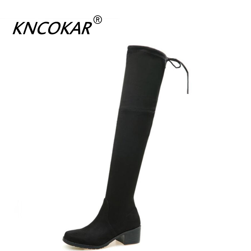 KNCOKARWinter Women Boots Women Plush Warm Suede Boots Over Knee Boots Mid-Calf Thigh High Rubber After Lace-Up Stocking Boots lace up slouch mid calf boots