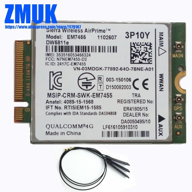 EM7455 Gobi6000 LTE 4G NGFF 300Mbps Module w/ Antennas DW5811E For DELL E5570 E7270 E7370 E7470 Series, 3P10Y 5R5P5 2J05X