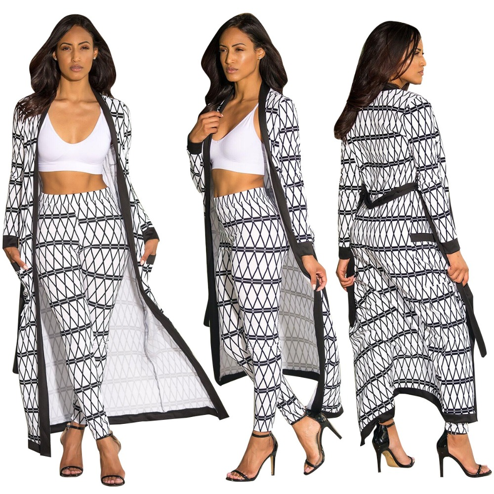 summer dresses two piece set Trench womens windbreaker+tunics high waist pants streetwear casual Robe Femme Plaid sexy legges