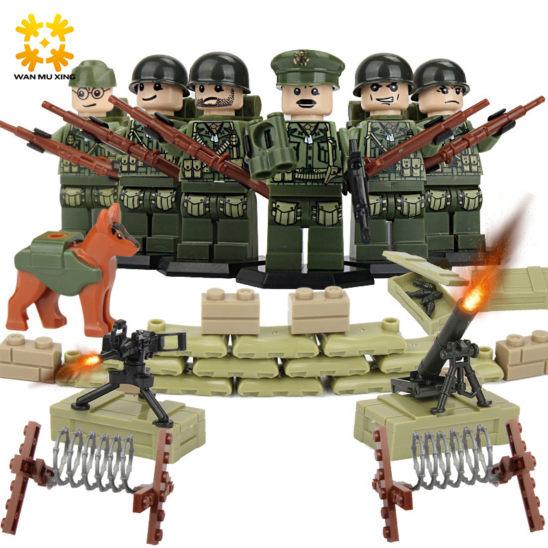 Baby DIY Self-Locking Bricks Military Series Army Soldier Model Blocks Set ABS Plastic with gun children Kids Toys Building Toy educational toys self locking bricks grandpa s farm set quality abs big building blocks funny diy toys boys girls best gift