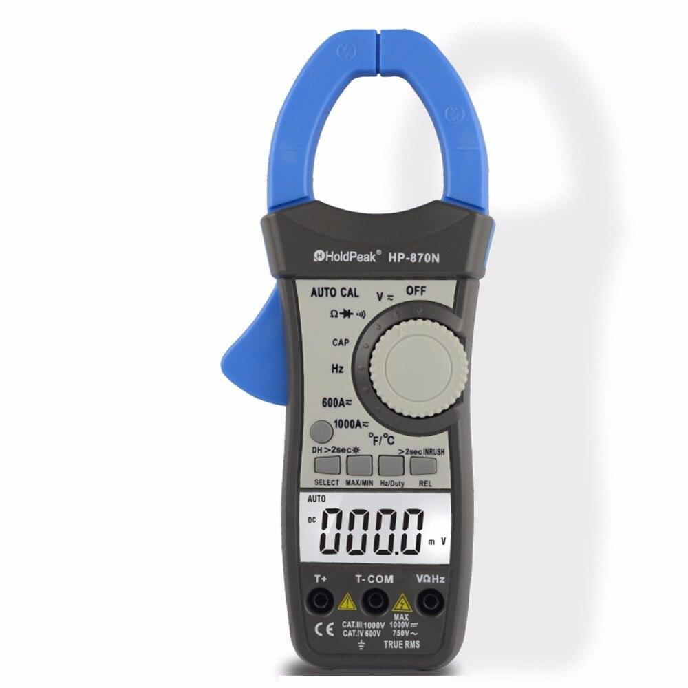 HoldPeak HP-870N Auto Range Multimetro Digital Clamp Meter Multimeter Pinza Piers Ammeter Amperimetro True RMS Frequency Tester
