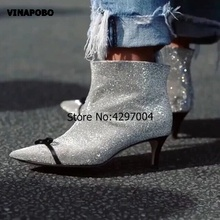 2018 Newest Design Rhinestone Bling Ankle Boots Women Pointed Toe Bow Knot  Glittering Real Leather Short bc5885f01cc2