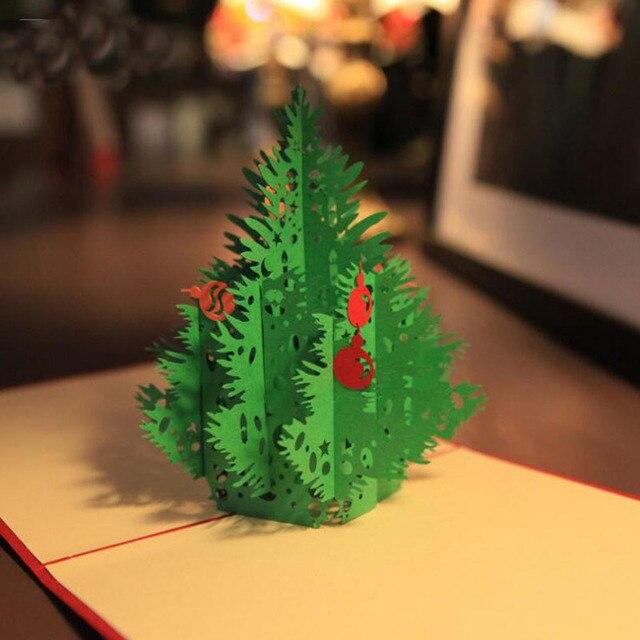 Kerstboom Papier Wenskaart 3d Sculptuur Vouwen Uitnodigingskaart