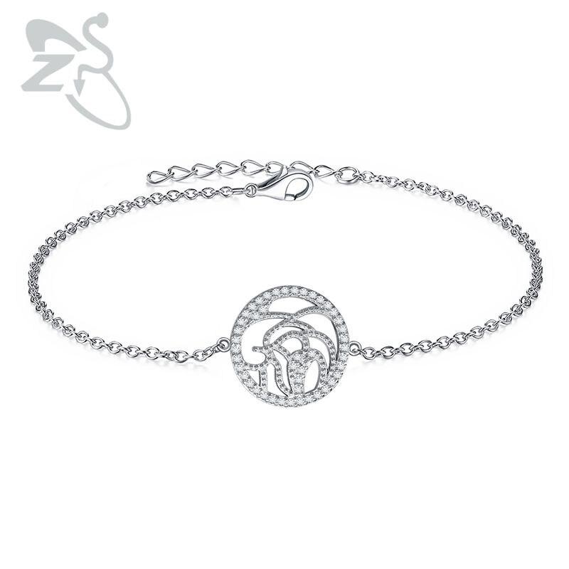 Crystal Chain & Link Bracelets Women Body Jewelry Hollow Bracelet 925 Sterling Sliver AAA Cubic Zirconia Adjustable 3cm Jewerly