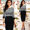 2017 Elegant Women Dress Black White Stripe Office Dress European Knee-Length Party Pencil Bodycon Dress big size S-XXL