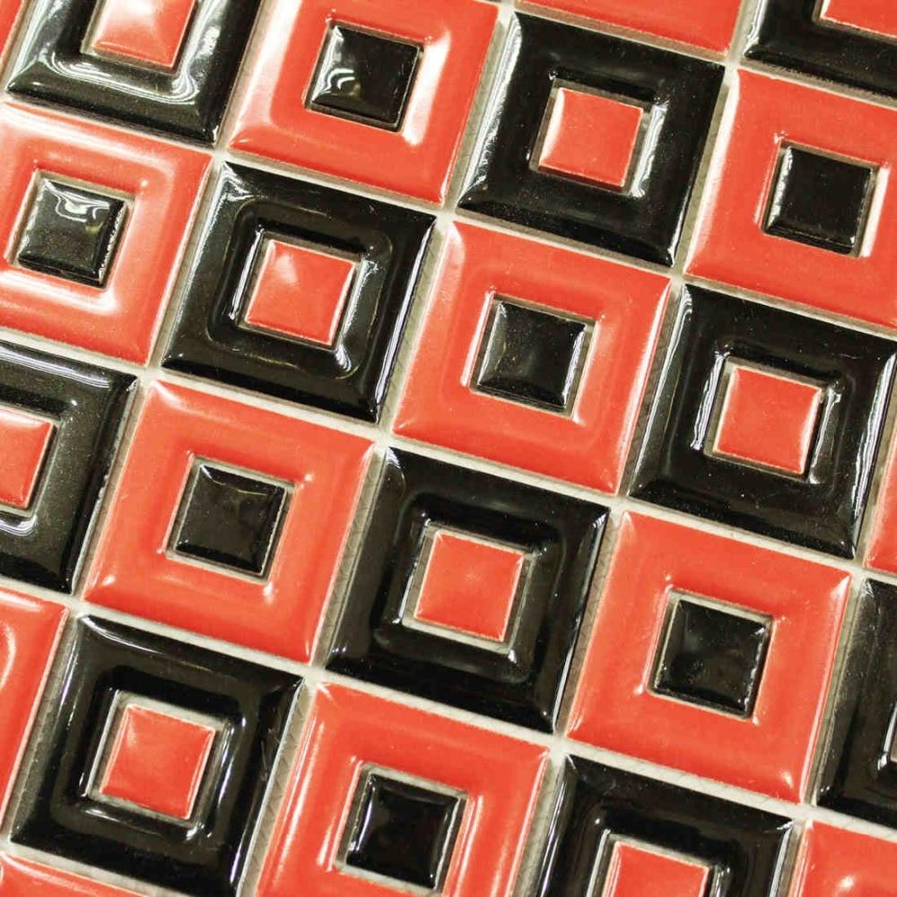 Merah hitam keramik mosaik ubin dapur backsplash dinding kamar mandi mandi latar belakang wallpaper lorong dekorasi