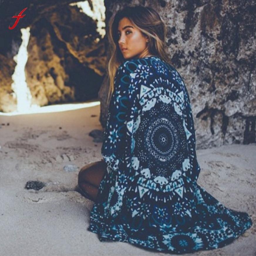 Women Blouses Blusas Y Camisas Mujer Mandala Print Kimono Cardigan Chiffon Blouse Shawl Cover up Women Shirts