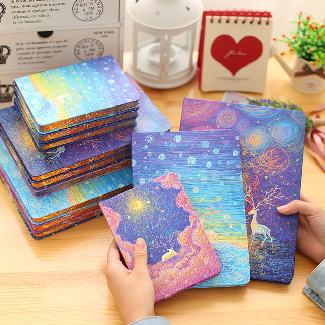 Hot diary Notebook hard Surface Copy Cover 96 Sheets Silent Night Creative Notepad Book Note book Office School Supplies Gift