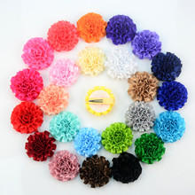 50pcs/lot Summer Color Flower Hairpin Single Prong Metal Hair Clip with 2.4″ Cute Satin Ribbon Flowers DIY Girl Headwear FH33