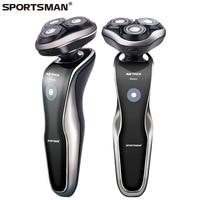 SPORTSMAN 220V Rechargeable Electric Shaver 3D Triple Floating Blade Heads Shaving Razors Face Care Men Beard