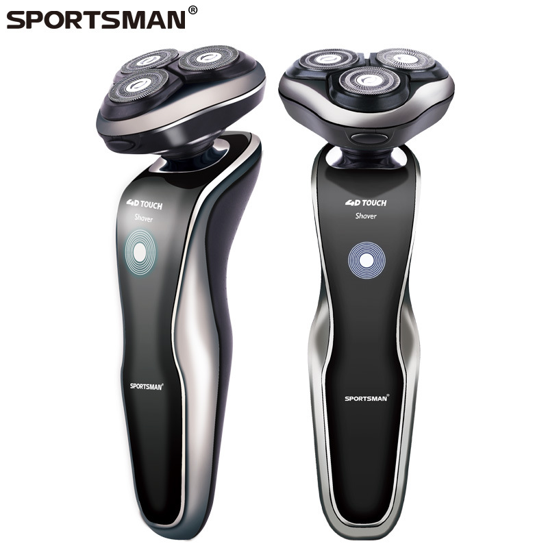 SPORTSMAN 220V Rechargeable Electric Shaver 3D Triple Floating Blade Heads Shaving Razors Face Care Men Beard Trimmer 3d floating heads waterproof electric shaver wet