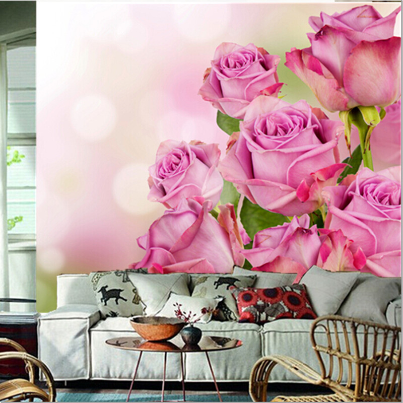 Custom 3d muralsbeautiful pink color roses flowers wallpapers custom 3d muralsbeautiful pink color roses flowers wallpapers living room sofa tv wall bedroom background wall paper in wallpapers from home improvement mightylinksfo