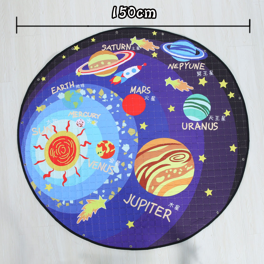 2 In 1 Blue The Solar System Theme Play Mat & Toy Storage Bag Baby Soft Space Play Pad Toys Infant Planet Carpet Rug Kids Toy