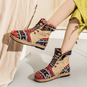 Image 5 - Veowalk 하라주쿠 자수 여성 리넨 코튼 쇼트 앵클 부츠 레이스 업 컴포트 레이디스 플랫 Espadrilles Booties Vegan Shoes