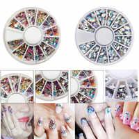 Marke Neue Mischfarbe 3D Nail art Tipps Kristall Glitter Strass DIY Nagel Dekoration Kits