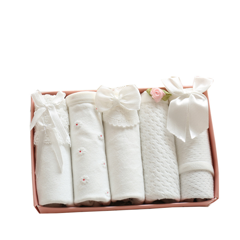 New Fashion Women Underwear Ladies Low-Rise Cute White Color Soft Cotton Lace Bow Briefs ...