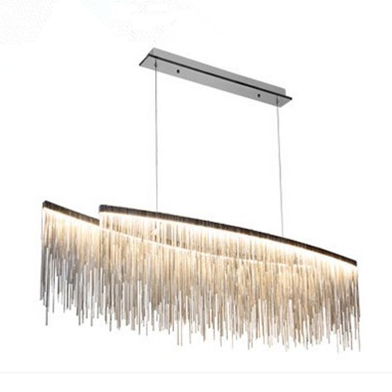 Luxury tassel aluminum chain chandelier LED pedant lamp creative personality living room restaurant lighting fixture luxury aluminum watch