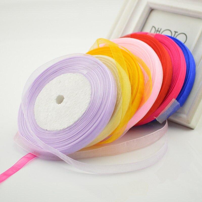 Ткань 10 мм М 45 м Шелковый атласный, органза полиэстер лента для Вышивание Свадебная вечеринка декоративная ткань ремесла подарочная упаковка ремень