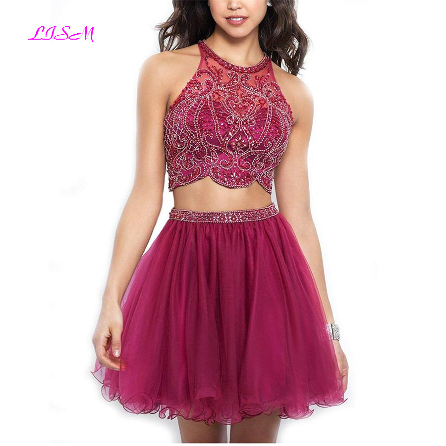 Two Pieces 2019 Mini Homecoming Dress A-Line Halter Crystals Prom Party Gowns Short Open Back Tulle Graduation vestido tul
