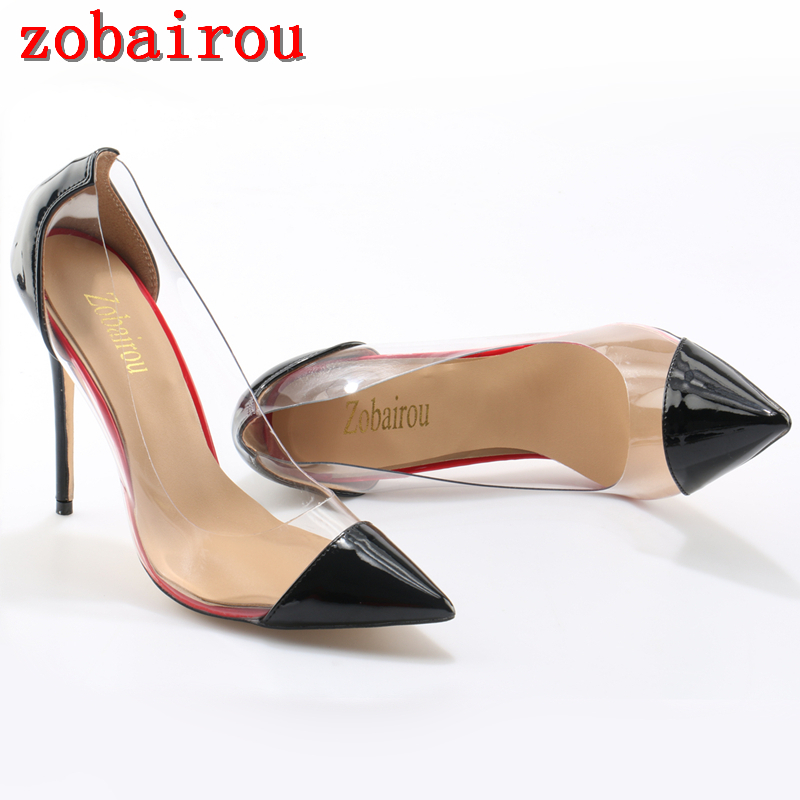 Patent Leather and Clear PVC Pumps Womens Shoes Thin High Heels Stilettos  Pumps Shoes Women Wedding Shoes Woman 12cm 82f02ec3886a