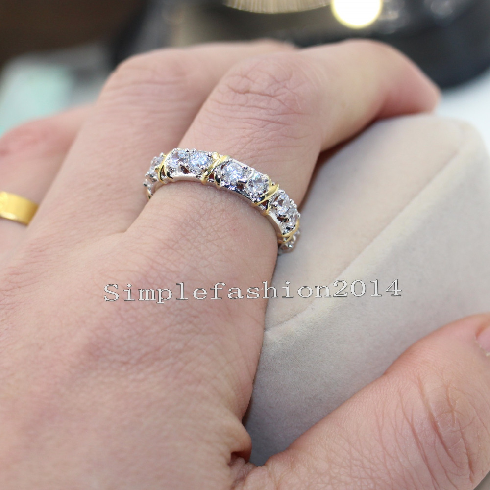 New Jewelry Eternity women 3mm Stone 5A Zircon Birthstone 10KT ...