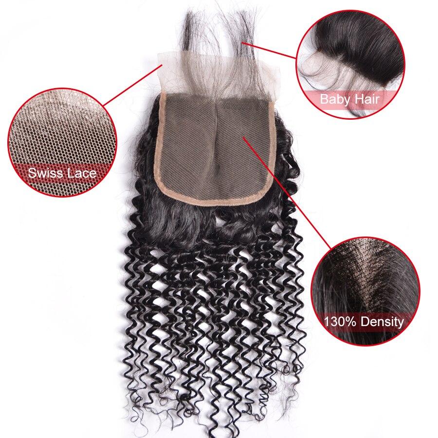 Tri / srednji / brezplačni del perujski kinky curly zaprtje 4x4 - Človeški lasje (za črne) - Fotografija 4