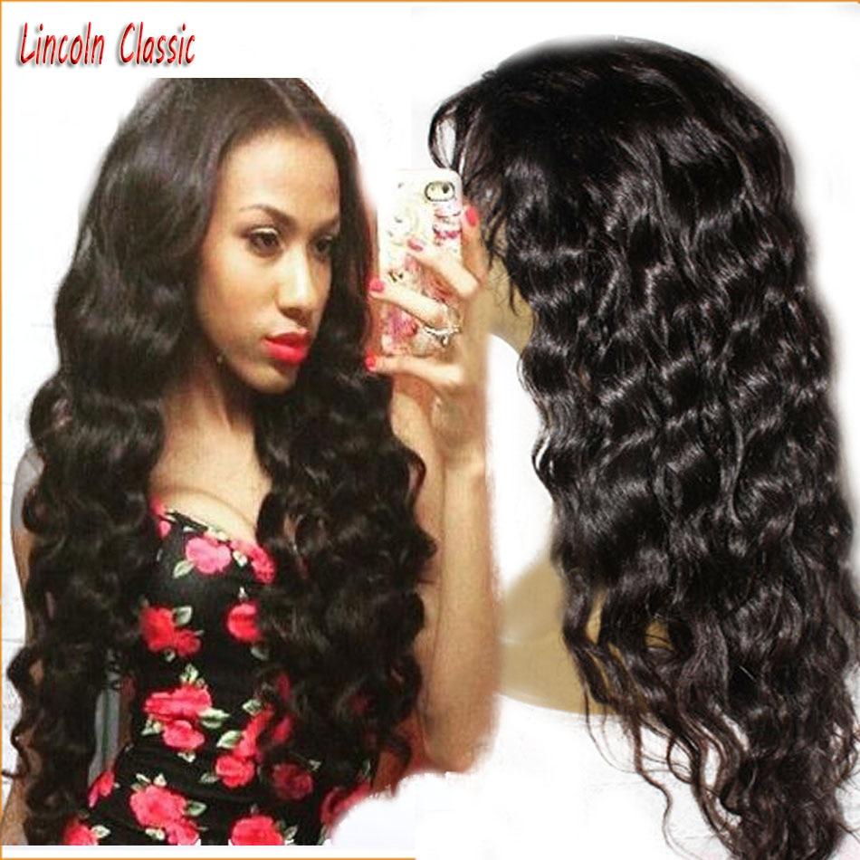 Hotsale Long Black Water Wave Lace Front Wig Peruvian Virgin font b Hair b font Middle