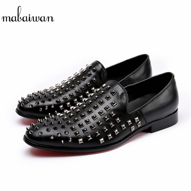 Mabaiwan Fashion Spikes Casual Shoes Black Men Shoes Loafers Rivets Slipper Wedding Dress Shoes Men Studded Stuts leather Flats 2017 new spring imported leather men s shoes white eather shoes breathable sneaker fashion men casual shoes