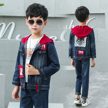 kids Clothing High Quality Children Denim Sets Stylish Boys Hooded Jacket & Jeans 2pcs