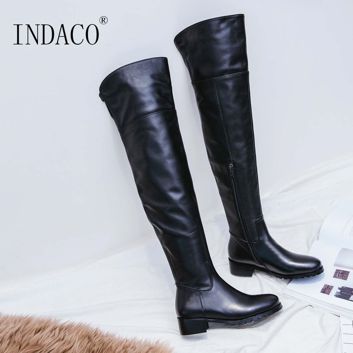 Over the Knee Boots Leather for Women 2018 Knee High Boots New Fashion Botte Hiver Femme 3.5cm jacques lemans jl 1 1937b