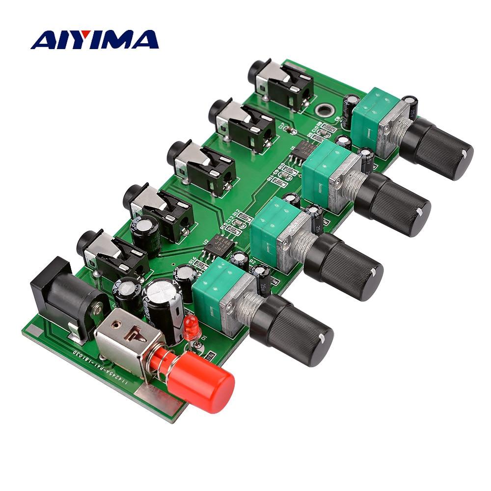 AIYIMA 4 דרכים סטריאו אודיו מיקסר לוח כונן אוזניות מגבר ערבוב לוח DIY NJM3414 ארבע כניסות אחד פלט