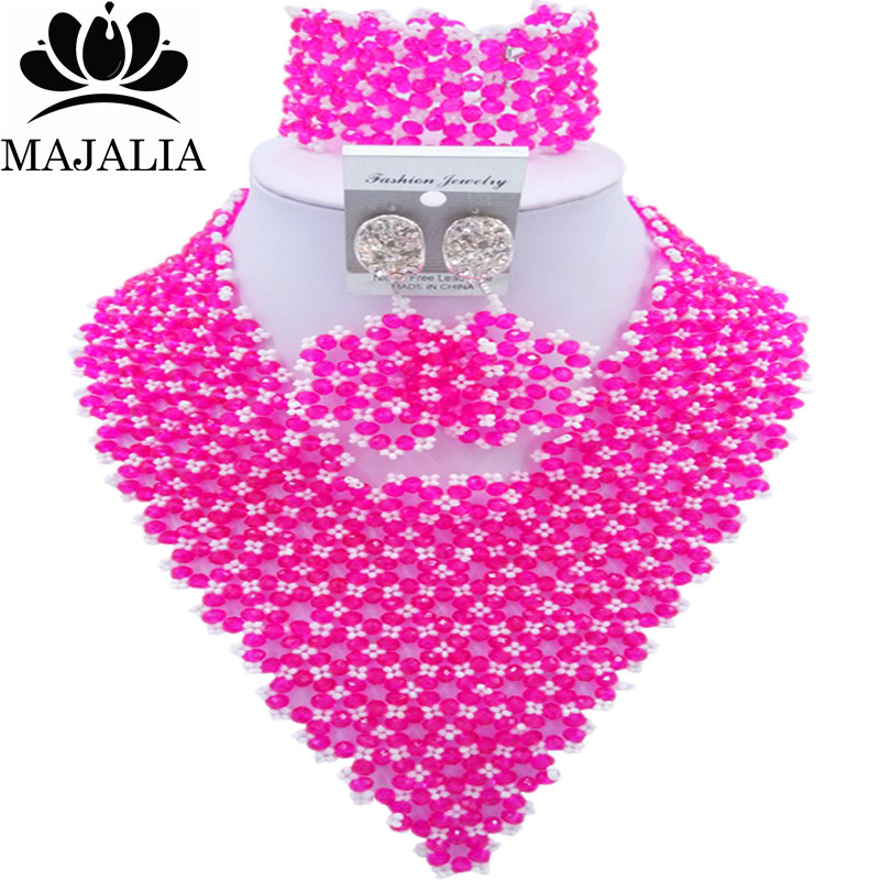Majalia Fashion Nigeria African Wedding Jewelry Crystal Hot pink and White Crystal Bead Necklace Bride Jewelry Sets 4JX005