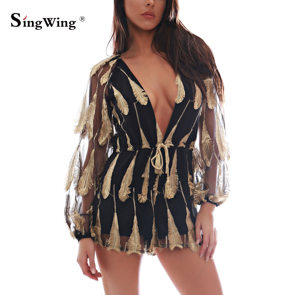 Singwing Feathers Lace Patchwork Playsuits Women Sexy deep V-neck embroidery Bodysuits lace feather Long sleeve Jumpsuits