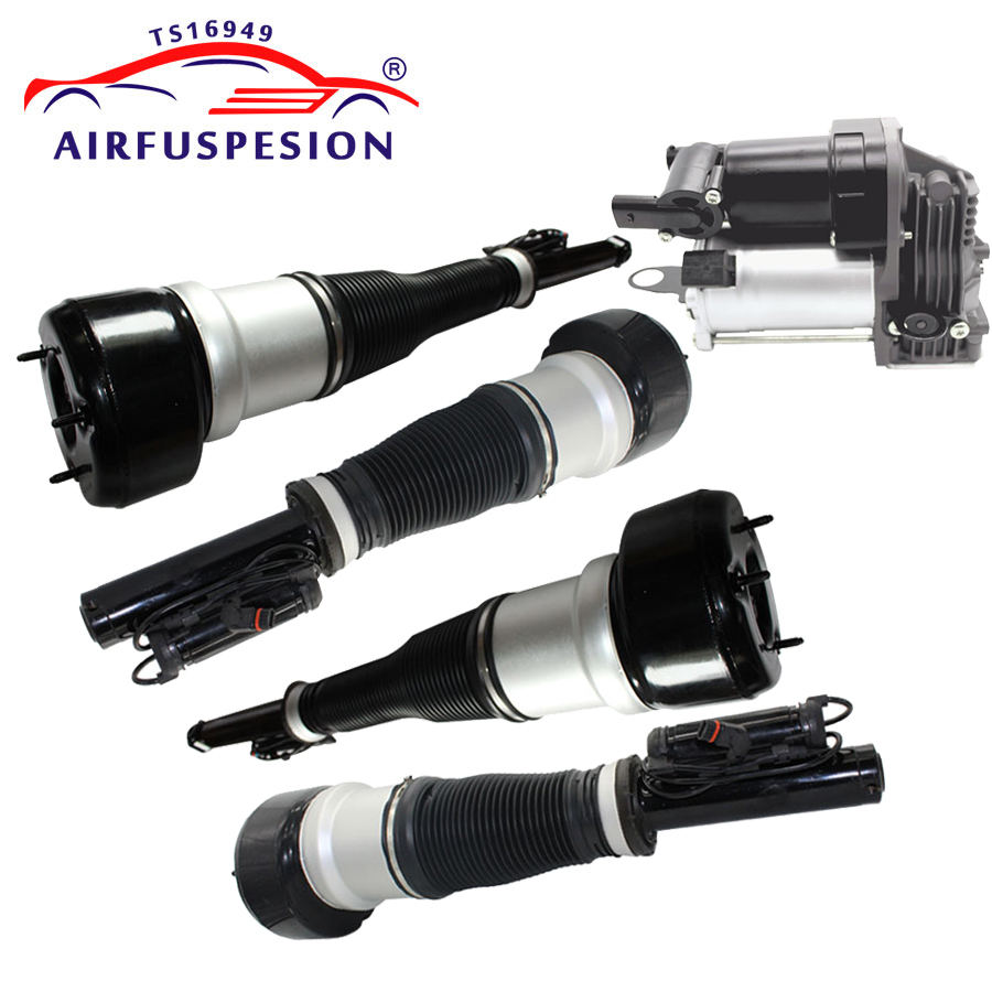 4pcs For Mercedes W221 Front Rear Suspension Shock Absorber Air Compressor Air Ride 2213209313 2213205613 2213205513