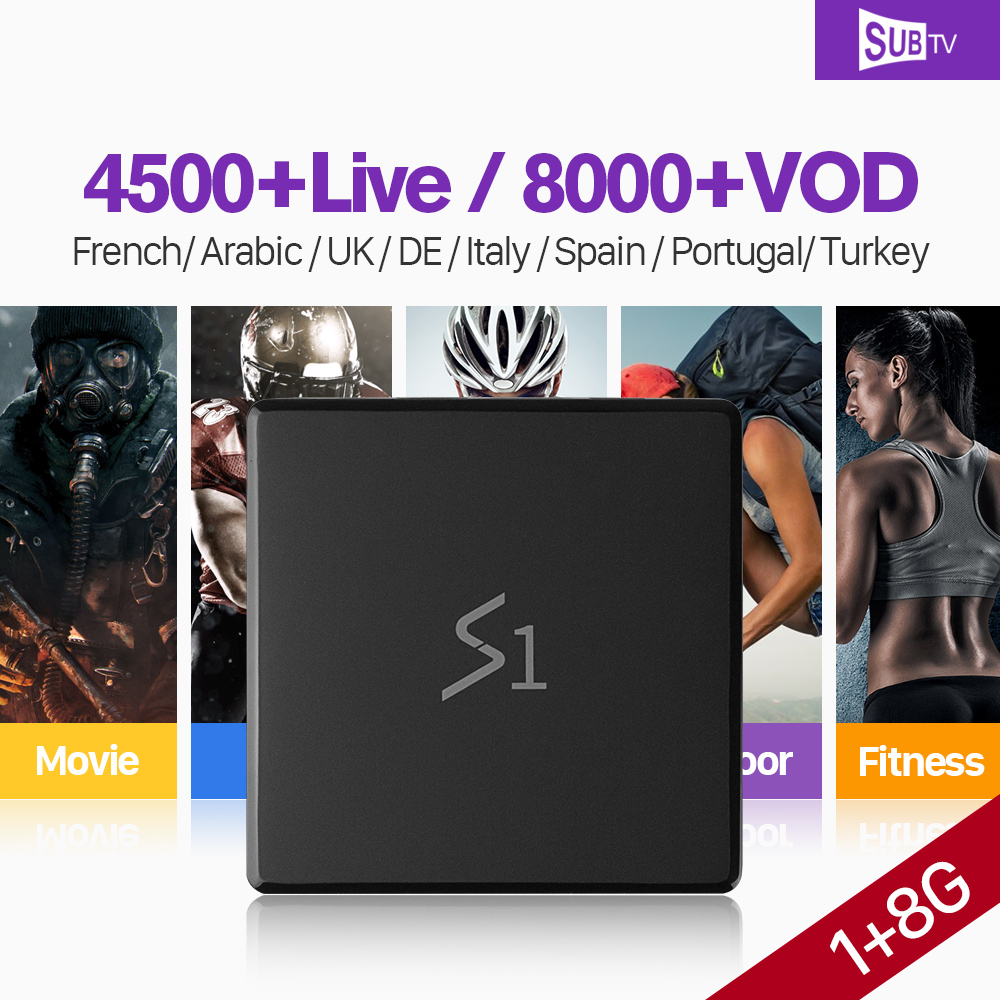 SUBTV France IPTV Arabe Italie Full HD Vie Soutien 4 k H.265 Décodeur IP TV Box RK3229 1 + 8g Android 7.1 set Top Box PK X96 Mini