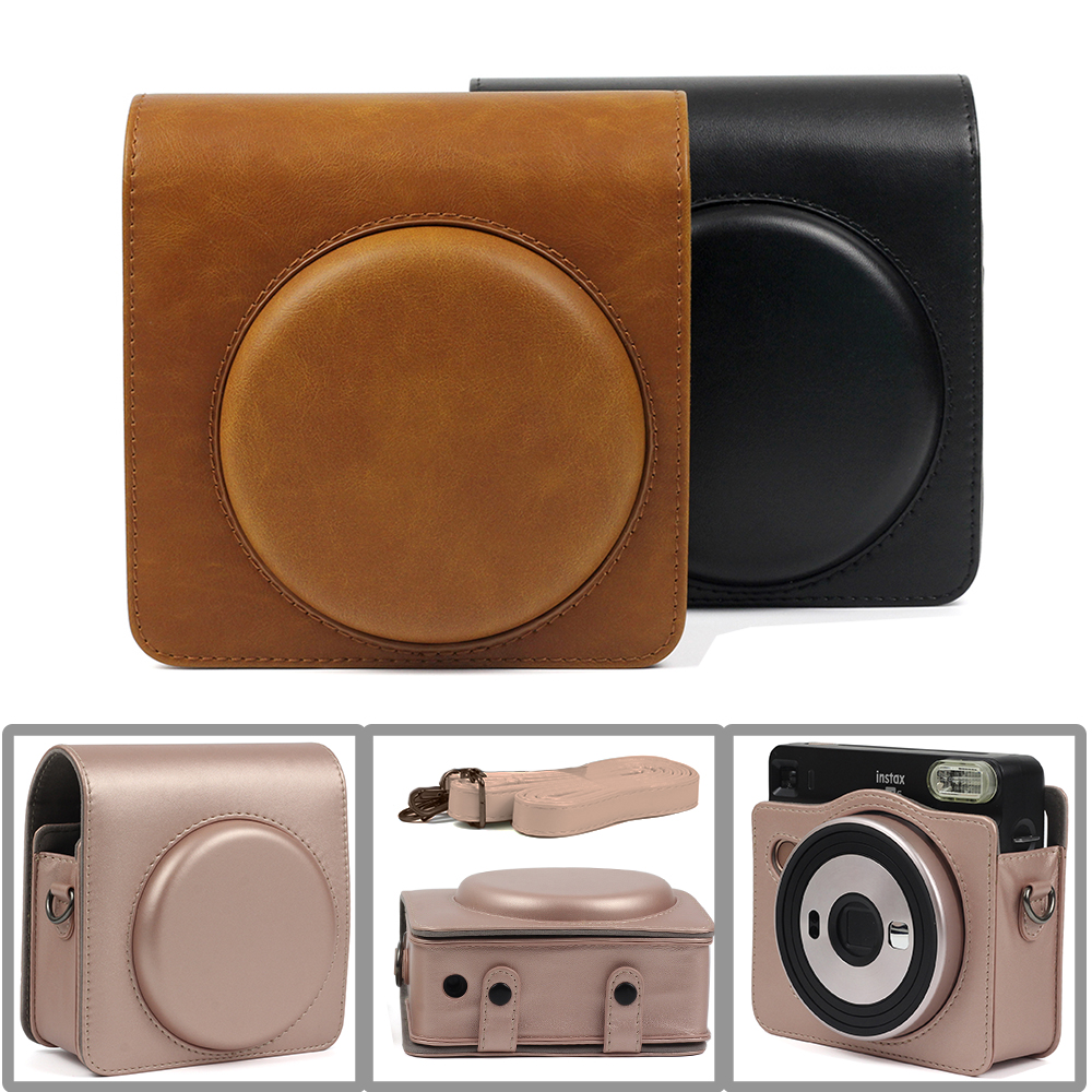 Carry PU Leather Bag Case Cover with Shoulder Strap For Fujifilm Instax SQUARE SQ6 Instant Film Photo Camera Black   Brown  Gold