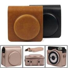 Сумка чехол из искусственной кожи для Fujifilm Instax SQUARE SQ6, чехол с плечевым ремнем для моментальной фотокамеры с пленкой черного/коричневого/золотого цвета