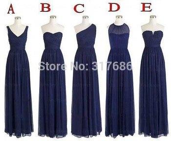 5 Styles Wedding Party Event Dress Chiffon Vestido Navy Blue Bridesmaid Dresses 2020 Long Brides Maid Dress Vestidos De