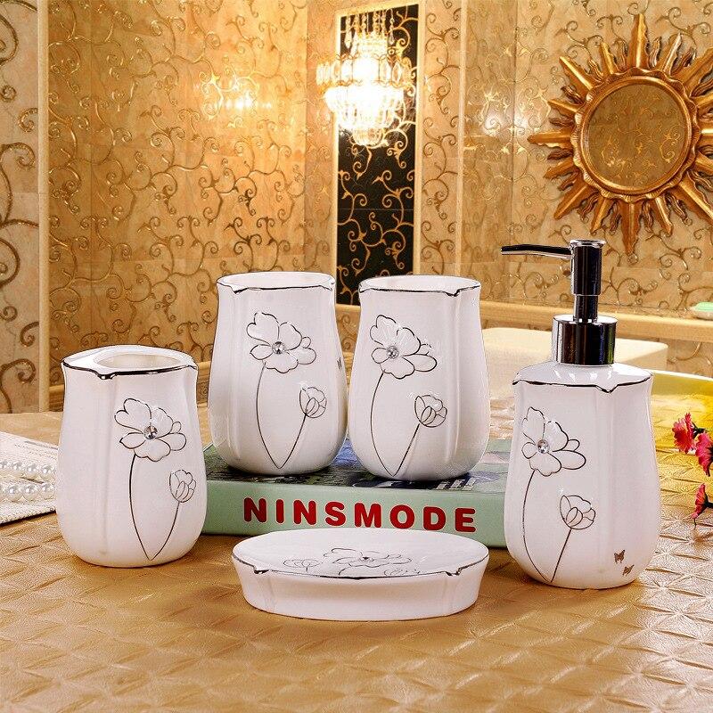 Accessoires de salle de bain en céramique diamant 5 pièces ensemble salle de bain lavage ensemble porte-brosse à dents gobelet savon boîte bouche tasse accessoires de bain