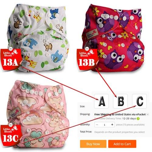 [Littles& Bloomz] Детские Моющиеся Многоразовые Тканевые карманные подгузники, выберите A1/B1/C1 из фото, только подгузники/подгузники(без вставки - Цвет: 13