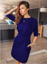 Casual Black Dress Half Sleeve O-neck Vintage Party Sexy Dresses