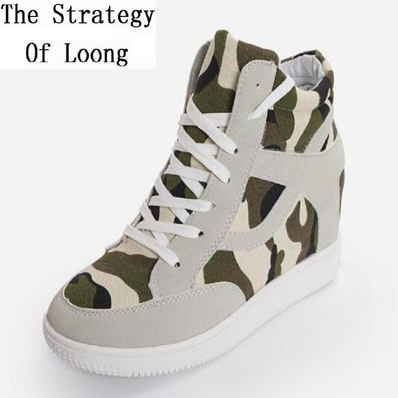 Spring Autumn Women Wedges Height Increase Elevator Lace Up Color Matching Fashion Casual Shoes Size 35-39 SXQ0625