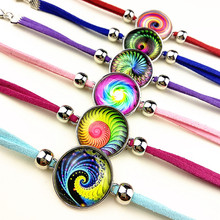 Jiangzimei 24pcs waves, whirlpools, dazzling,mandala multi-color Glass cabochon charm bracelets party gift wholesale