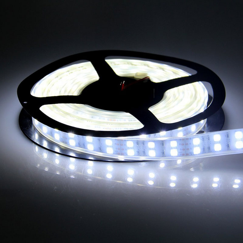 5M Double Row 600 SMD5050 RGB White White LED Strip Tape Light Tube Waterproof Ribbon Rope Light,Roll String Lights