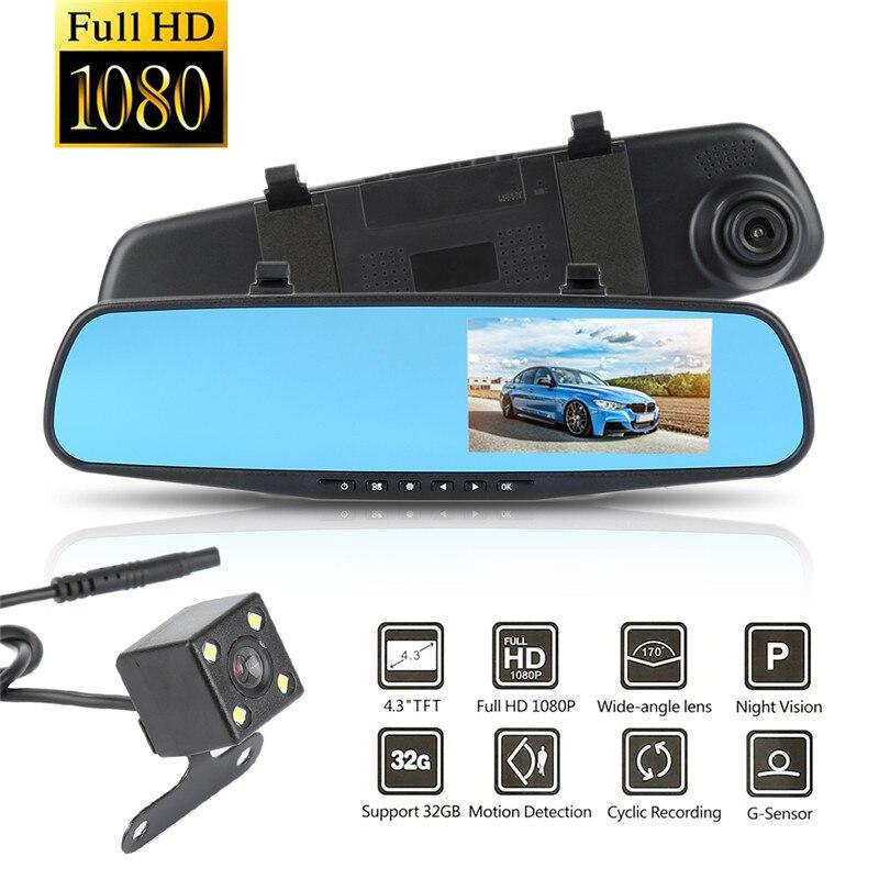 1080 p HD Avant Arrière Caméra Double Lentille Voiture Enregistreur 4.3 pouce LCD Affichage Ultra Grand Angle Enregistreur de Conduite sur vue arrière de Miroir