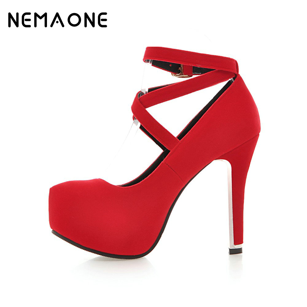 NEMAONE Woman High Heel Pumps Candy Colors Sexy Party Pumps Round Toe Platform Shoes Ladies 2017 Spring New Shoes purple platform super high heeled pumps shoes for woman ladies girl purple party dinner shoes ladies crystal pearls shoe tg784
